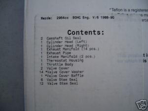 MAZDA 3.0 JE06 JE07 JE39 JE 929 MPV HEAD GASKET SET HS5856