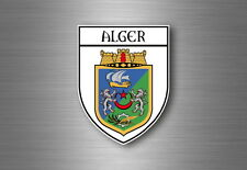 Sticker decal souvenir car coat of arms shield city flag algiers algeria