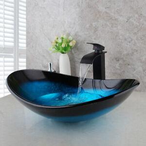 Blue Bathroom Oval Vessel Sink Tempered Glass Wash Bowl Mixer Tap Faucet Set