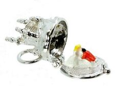 STERLING SILVER OPENING ENAMELLED CINDERELLA'S CASTLE ON THE HILL CHARM