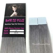 "10pcs 22"" Remy Seamless Tape Skin Weft Human Hair Extensions Silver Dark Gray"