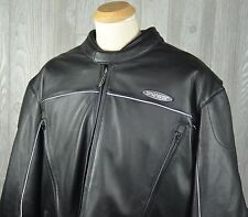 Harley Davidson FXRG Water Resistant Body Armor Black Leather Jacket Men's 4XL
