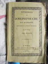 MEMOIRES DE JOSEPH FOUCHE, 1825. Tome 1 seul (sur 2).