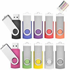 2 Go Lot de 10 Pivotant Clés USB 2.0 Stockage Carte Mémoire Flash Drive Rotat...