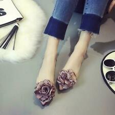 Sweet Womens Cute  Floral Transparent Pointed Toe Comfort Jelly Shoes Flat Heels