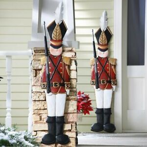 4 Ft Nostalgic Christmas Nutcracker Tin Soldier Metal Wall Fence Hanging Decor