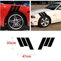 2 x Car Fender Black Stripes Sticker for Left & Right Decal DIY 47X33CM Decorate