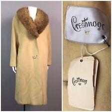 Vintage NOS Deadstock 1960s Beige Wool Long Coat With Mink Fur Collar XL