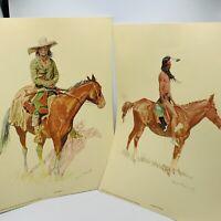 (2)Vintage Frederic RemingtonPrints Penn Prints of New York 1956 Western US Art
