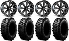 "MSA Black Kore 14"" UTV Wheels 28"" Carnivore Tires Kawasaki Mule Pro FXT"