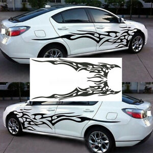 2x Black Flame Totem Car Sticker Graphics Side Door Full Body Vinyl Decals Auto
