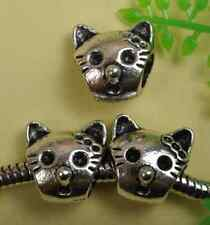 NP273 Wholesale 10pcs tibetan silver nice cat Bead fit bracelet