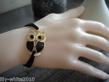 Ladies Girls Owl Bracelet, Friendship Leather Bracelet, Leather REDUCED TO CLEAR