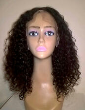 "12"" #1b 6A Brazilian Virgin Curly 130% Density 13x6"" Lace Front Wig"