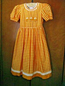 Girls Prairie Square Dance Dress Full Skirt Gold White Orange Fitted Waist Sz 10