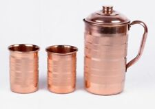 Copper Handmade Water Jug Pitcher 2 Tumbler Set Natural Ayurveda Health Benifit
