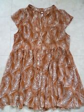 Ladies Long Tunic Top Short Dress Flame with White Feather Print Button Front