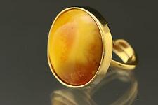 Vintage Egg Yolk BALTIC AMBER Silver Gold Plated Adjustable Ring r161201-4