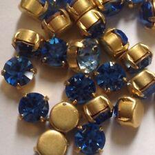 10 x Vintage Sapphire Chaton Rhinestone Set - Brass Settings - SS35