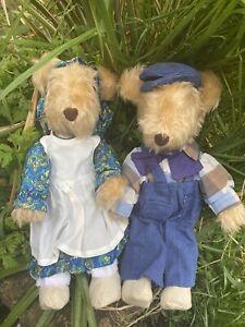 Vintage Handmade Cute Lady /Gentlemen Dressed Country Teddy Bears 14 Inch