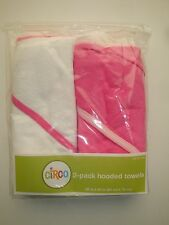 """NEW!  CIRCO 2-PACK HOODED TOWELS FOR BABY GIRLS:  PINK & WHITE, SIZE 26"""" X 30"""""""