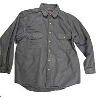 Moose Creek Heavy Flannel Shirt Mens Size XL Grey Long Sleeve Button Up