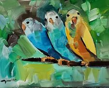 JOSE TRUJILLO Oil Painting Parakeets IMPRESSIONISM BIRDS MODERN FINE ART NR