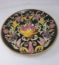 Unique Plate by H. BEQUET QUAREGNON Vintage Hand Painted Majolica Gold Signed
