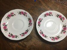 More details for 2x gainsborough pink roses vintage tea saucers bone china e 96 b england