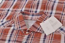 NWT Brunello Cucinelli Size Large Basic Fit Dress Shirt Orange Blue White Co Lin