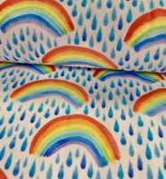Watercolour Raindrop Rainbow Weather Clouds Paint Cotton Elastin Jersey Half M