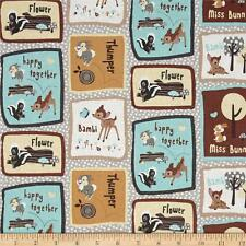 """Disney Bambi & Friends Patch 100% cotton 43""""  fabric by the yard (36"""")"""