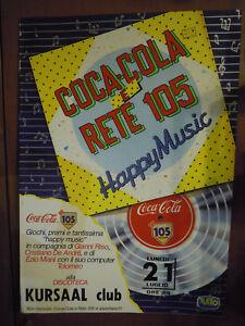 """1980ca COCA-COLA e RETE 105 """" HAPPY MUSIC """" KURSAAL CLUB BORDIGHERA G. RISO (MAN"""