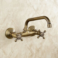 Retro Brass Wall Mount Bathroom Basin Faucet Dual Handle Swivel Spout Mixer Tap