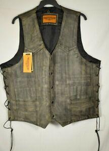 Men's Dream Apparel - Embossed Gun Pocket Leather Brown Biker Vest - Size 54