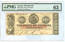 1863 ONE HUNDRED DOLLARS GEORGIA,MLLEDGEVILLE STATE OF GEORGIA PMG-63CHOICE UNC.