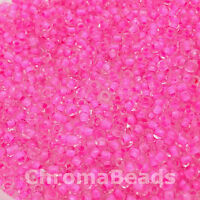 50g glass seed beads - Candy Pink Inside - approx 3mm (size 8/0)