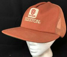 Vtg Hesston Tractor Mesh Trucker Hat Snapback Farmer Cap Fiatagri Made In USA