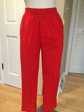 Vintage Light Weight Relaxed Leg Pant High Waist Pant-Red