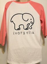 67c7de319258f NWT Ivory Ella Elephant Raglan Baseball Shirt 3 4 Sleeve Pink White S Small