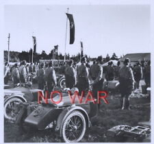 WWII ORIGINAL GERMAN WAR PHOTO MOTO CREW WITH MOTOS AT MILITARY PARADE NUREMBERG