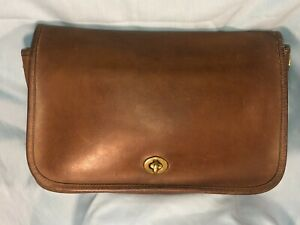 """Authentic COACH brown leather 3-part pouch, 11""""x 8""""x3"""", no strap, great for iPad"""