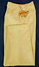 NEW Men's CARIBBEAN JOE Pleated Cuffed Sand Color Casual Dress Pants Size 34x34