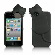 For Apple iPhone 4/4S Black Cat Soft Rubber Case w/Diamond