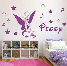 Custom Personalised Name Tinker Bell Fairy Wall Art Sticker Girls Kids Art Decal