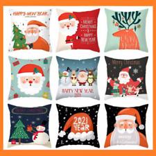 Christmas Santa Cushion Cover Sofa 45x45cm Cartoon Pillowcase Xmas Home Decor