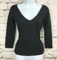 VIE by Victoria Royal Black Double V Silk Wool Blend Beaded Top Small