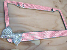 7Row Pink Bling Rhinestone License Plate Frame w Clear Bow on Bottom/Side &2Cap
