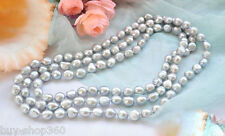 Genuine 8-9mm Natural Gray Freshwater Cultured Baroque Pearl Necklace 36''