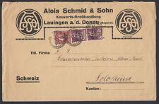 GERMANY, 1920. Cover Mi122,129, Friedrichshafen  - Solothurn